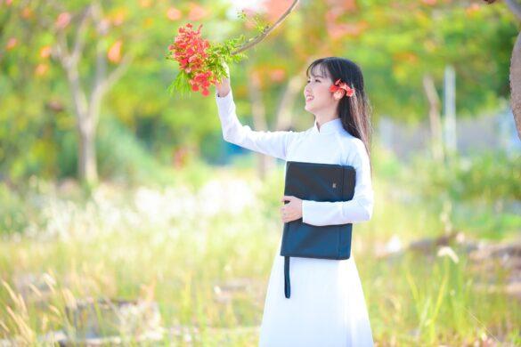 Ảnh nữ sinh áo dài bên hoa phượng